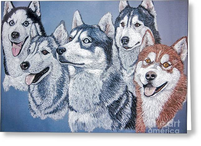 Huskies Photographs Greeting Cards - Huskies by J. Belter Garfunkel Greeting Card by Sheldon Kralstein