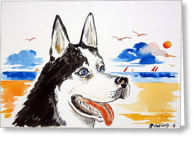 Husky Drawings Greeting Cards - Husky at the beach Greeting Card by Roberto Gagliardi