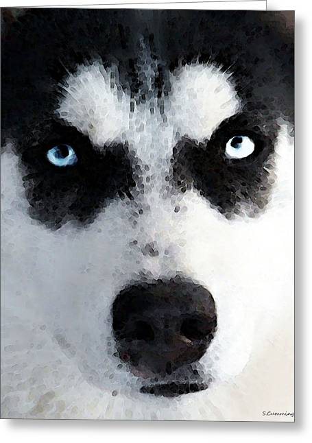 Winter Sports Art Prints Greeting Cards - Husky Dog Art - Bat Man Greeting Card by Sharon Cummings