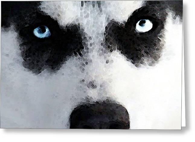 Husky Dog Art - Bat Man Greeting Card by Sharon Cummings