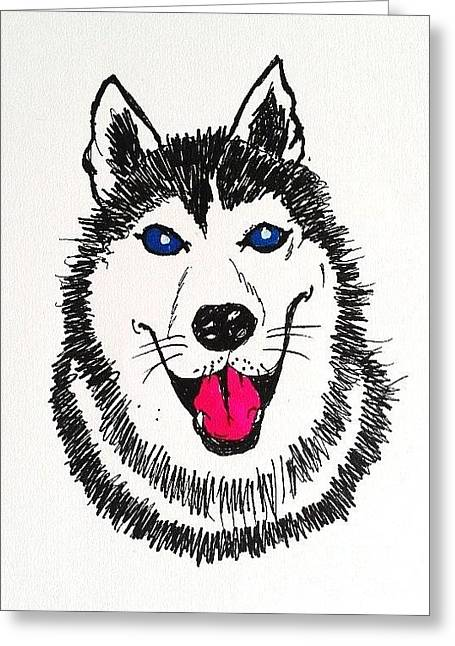 Husky Drawings Greeting Cards - Husky Dog Greeting Card by Esther Rowden