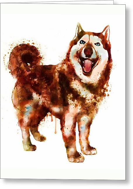 Husky Dog Greeting Cards - Husky Dog watercolor Greeting Card by Marian Voicu