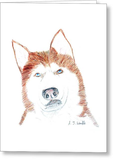 Huskies Mixed Media Greeting Cards - Husky Drawing Greeting Card by Adam Wardle