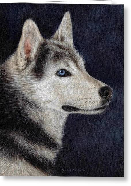 Sled Dogs Greeting Cards - Husky Portrait Painting Greeting Card by Rachel Stribbling