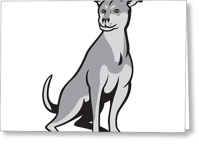 Husky Greeting Cards - Husky Shar Pei Cross Dog Sitting Cartoon Greeting Card by Aloysius Patrimonio