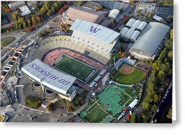 Huskies Photographs Greeting Cards - Husky Stadium Greeting Card by Nomad Art And  Design