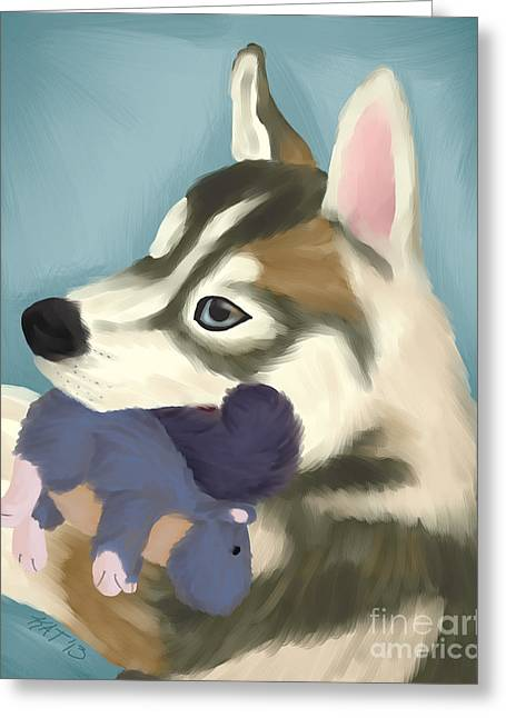 Husky Greeting Cards - Husky with Toy Greeting Card by Kirsten Thomas