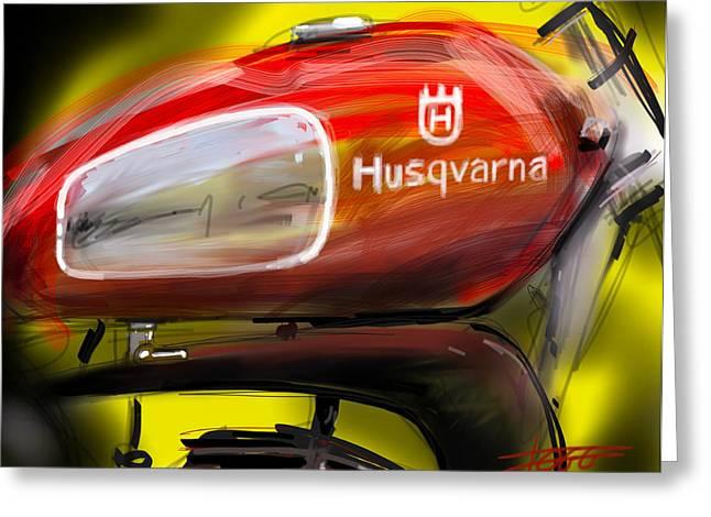 Basement Art Digital Art Greeting Cards - Husqvarna Greeting Card by Peter Fogg