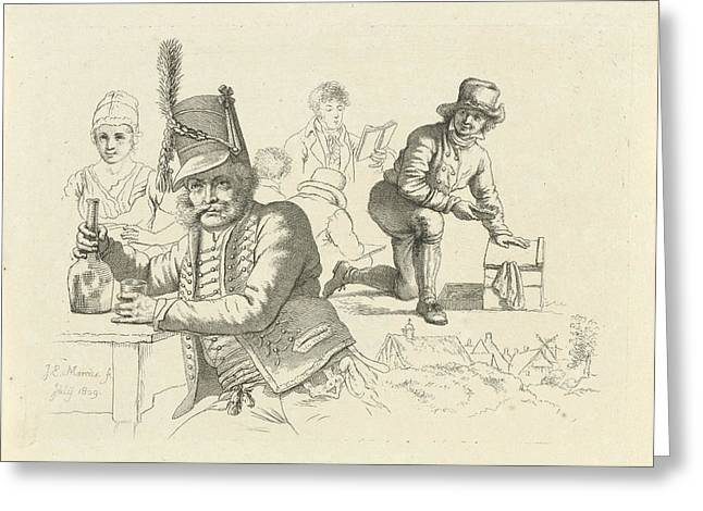 Hussar With Glass And Bottle On A Table, A Cobbler Greeting Card by Quint Lox