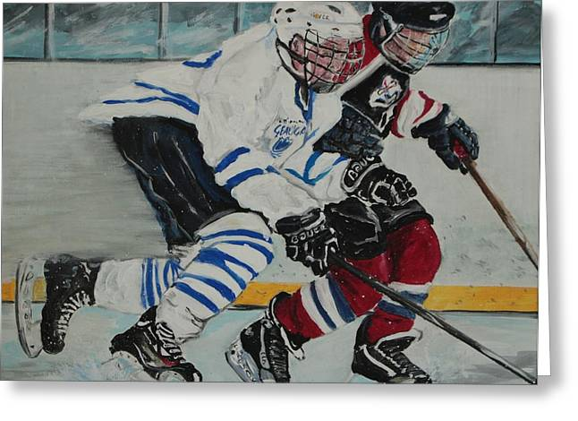 Hockey Paintings Greeting Cards - Hustle Hustle Greeting Card by Satu Pirinen