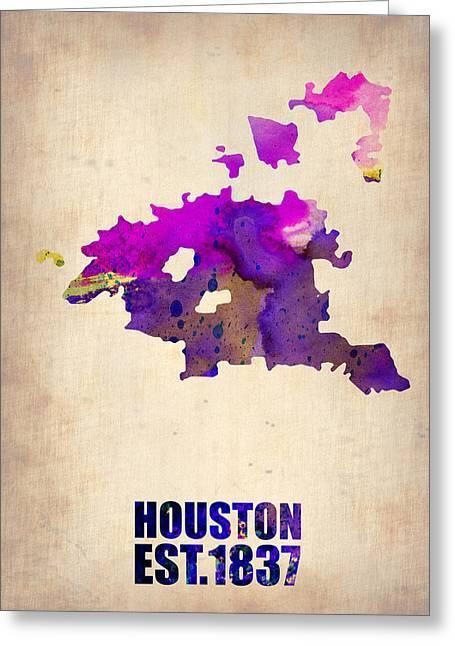 Huston Greeting Cards - Huston Watercolor Map Greeting Card by Naxart Studio