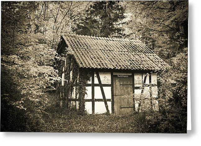 Hut In The Forest Sepia Vintage Style Greeting Card by Matthias Hauser