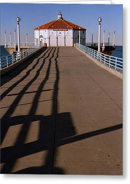 Beach Photography Greeting Cards - Hut On A Pier, Manhattan Beach Pier Greeting Card by Panoramic Images