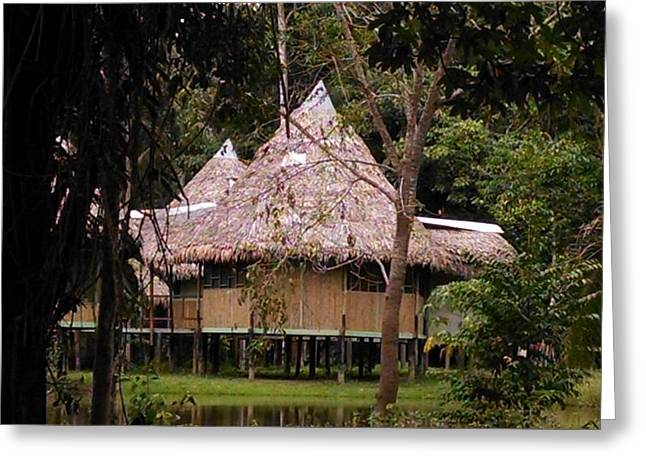 Bamboo House Greeting Cards - Hut on the Amazon river Greeting Card by Connor Sughrue