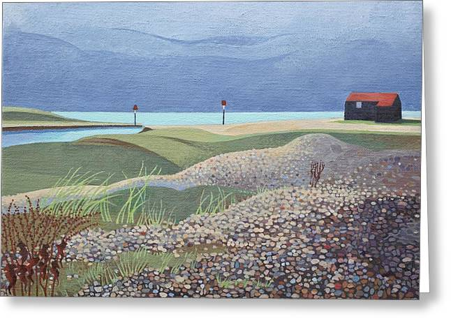 Sheds Greeting Cards - Hut, Rye Harbour Acrylic On Canvas Greeting Card by Anna Teasdale