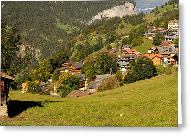 Lauterbrunnen Greeting Cards - Hut With Village In The Background Greeting Card by Panoramic Images