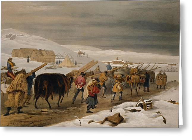Winter Roads Drawings Greeting Cards - Huts And Warm Clothing For The Army Greeting Card by William