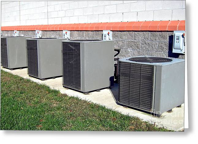 Air Conditioner Greeting Cards - HVAC Row Greeting Card by Olivier Le Queinec