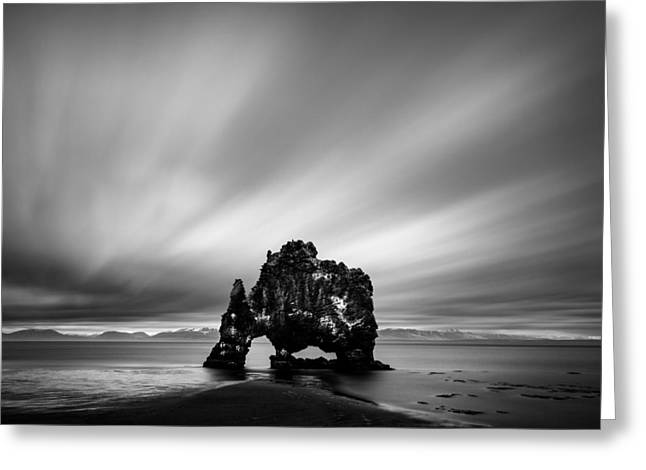 Monochrome Greeting Cards - Hvitserkur Greeting Card by Dave Bowman