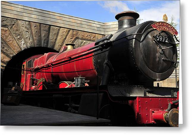 Hogwarts Greeting Cards - Hogwarts Express Train work A Greeting Card by David Lee Thompson