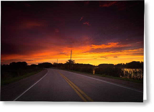 Blacktop Greeting Cards - Hwy 20 Sunset Greeting Card by Cale Best