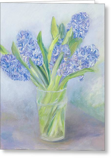 Flower Still Life Greeting Cards - Hyacinths Greeting Card by Sophia Elliot