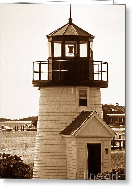 Lighthouse Artwork Greeting Cards - Hyannis Lighthouse Replica Greeting Card by Skip Willits