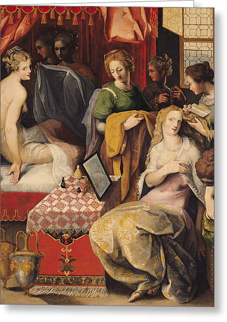 Combing Greeting Cards - Hyante And Climene At Their Toilet Oil On Canvas Greeting Card by Toussaint Dubreuil