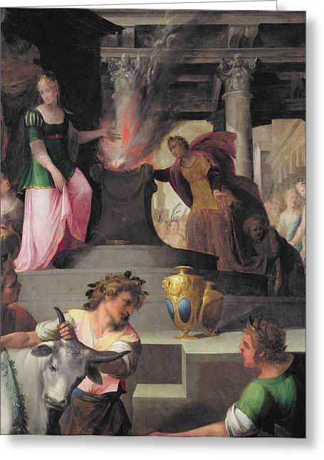 Altars Greeting Cards - Hyante And Climene Offering A Sacrifice To Venus, From La Franciade By Pierre De Ronsard 1524-85 Greeting Card by Toussaint Dubreuil