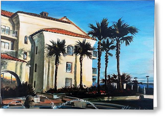 Huntington Hotel Greeting Cards - Hyatt HB grounds Greeting Card by Mike Worthen