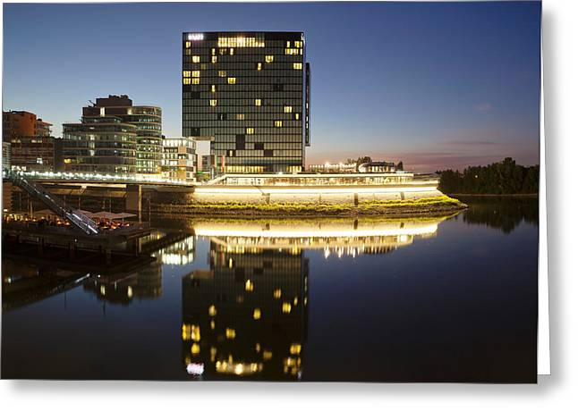 Hyatt Hotel At Dusk, Media Harbour Greeting Card by Panoramic Images