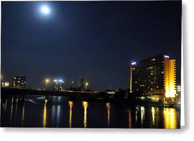Austin Pyrography Greeting Cards - Hyatt under Full Moon Greeting Card by Lisa Quenon