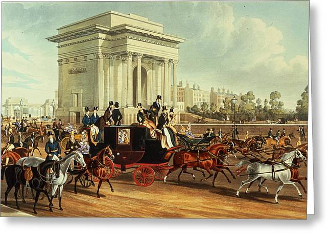 Roundabout Greeting Cards - Hyde Park Corner, After James Pollard, Published By Ackermann, 1836 Aquatint Greeting Card by English School
