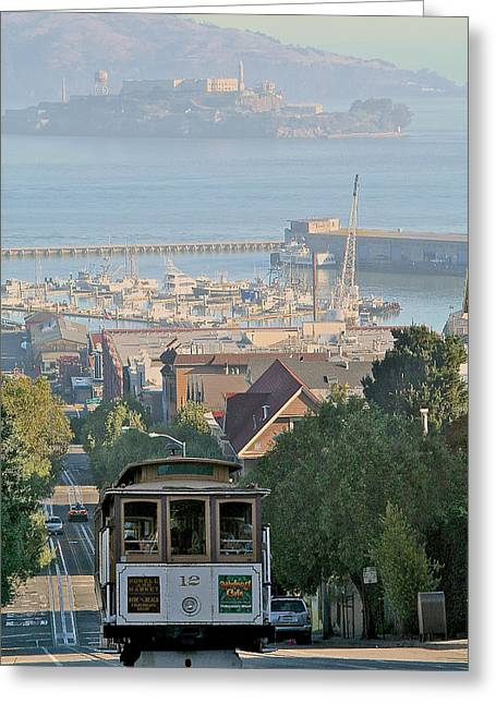 Alcatraz Pyrography Greeting Cards - Hyde St   Hill Greeting Card by DUG Harpster