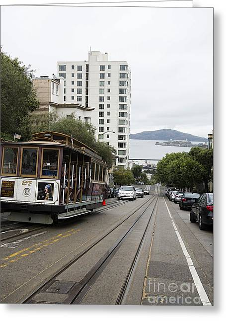 Alcatraz Greeting Cards - Hyde Street Cable Car Greeting Card by David Bearden