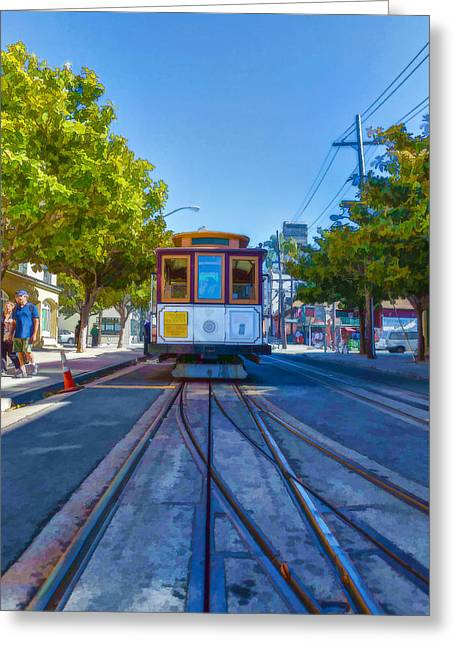 Hyde Street Trolley Greeting Card by Scott Campbell