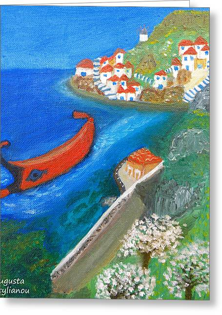 Greek Art Greeting Cards - Hydra Island Greeting Card by Augusta Stylianou