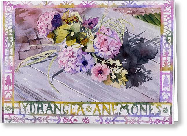 Floorboards Greeting Cards - Hydrangea Anemones Greeting Card by Julia Rowntree