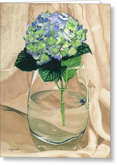 Glass Vase Greeting Cards - Hydrangea Blossom Greeting Card by Barbara Jewell