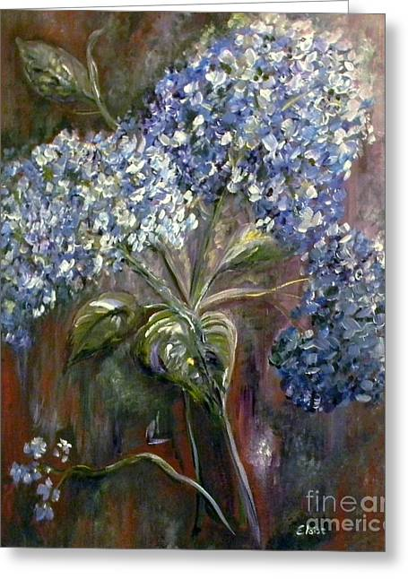 Surreal Landscape Greeting Cards - Hydrangea Bouquet at Dawn Greeting Card by Eloise Schneider