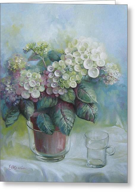 Glass Vase Greeting Cards - Hydrangea Greeting Card by Elena Oleniuc