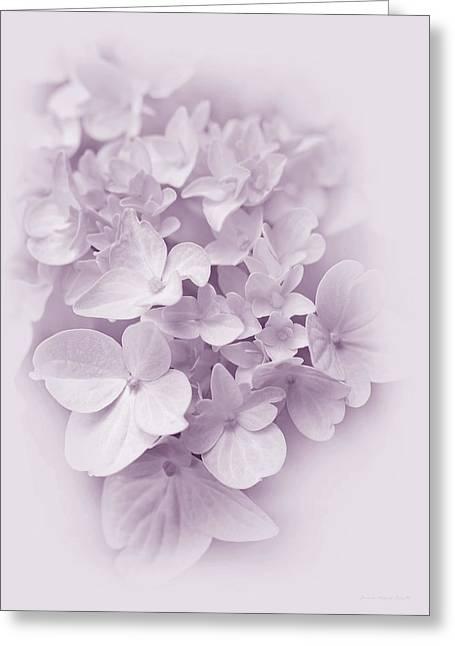 Purple Hydrangeas Greeting Cards - Hydrangea Flowers Violet Pastel Delight Greeting Card by Jennie Marie Schell