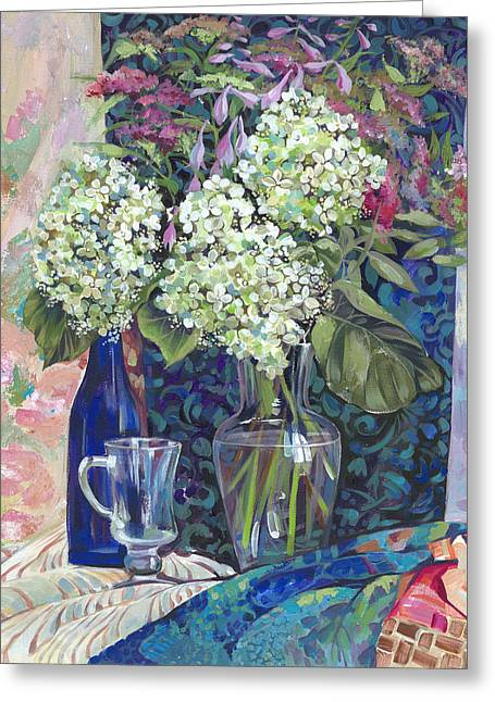 Water Jug Greeting Cards - Hydrangea in a vase Greeting Card by Olga Panina