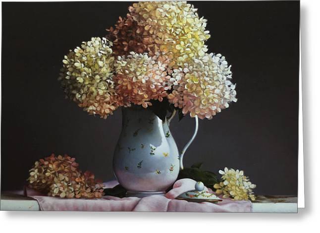 Hydrangea Greeting Card by Larry Preston