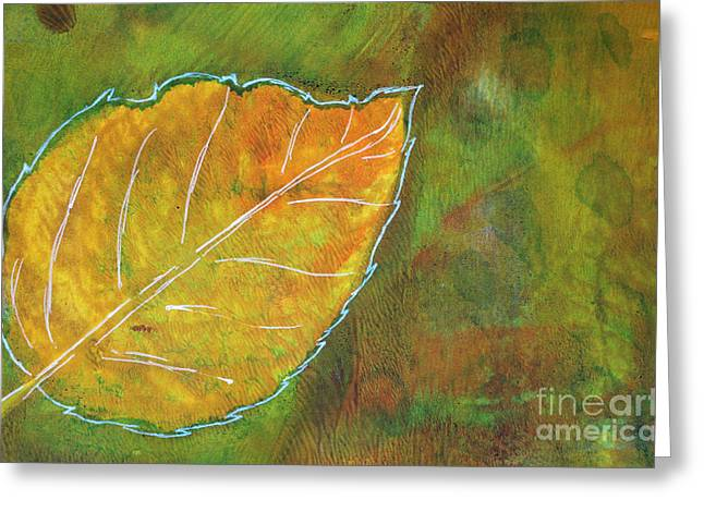 Sustainable Gardening Greeting Cards - Hydrangea Leaf Print 10 Greeting Card by Lauri Jean Crowe