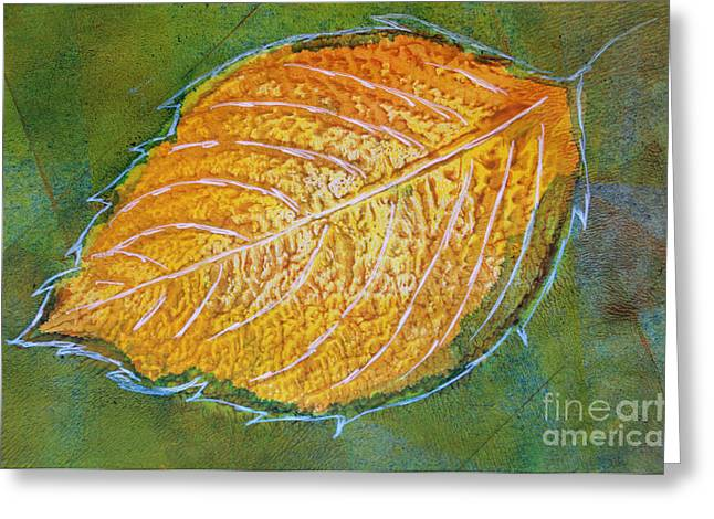 Sustainable Gardening Greeting Cards - Hydrangea Leaf Print 3 Greeting Card by Lauri Jean Crowe