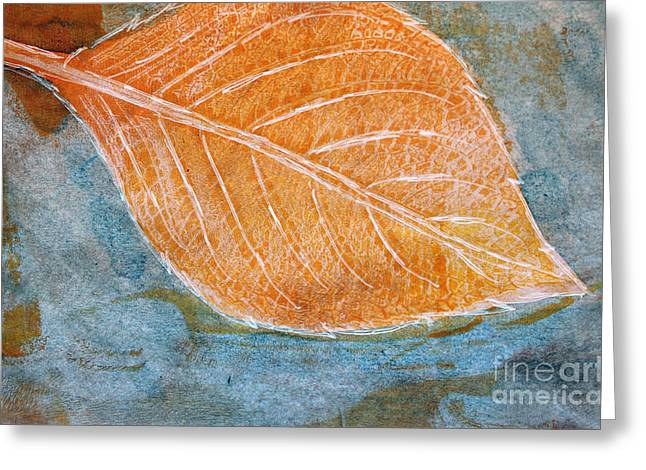 Sustainable Gardening Greeting Cards - Hydrangea Leaf Print 4 Greeting Card by Lauri Jean Crowe