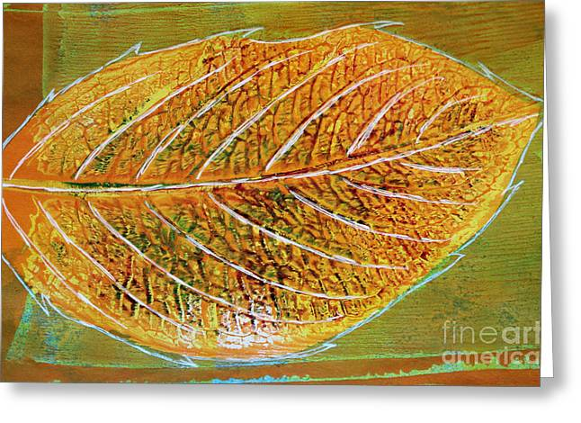 Sustainable Gardening Greeting Cards - Hydrangea Leaf Print 5 Greeting Card by Lauri Jean Crowe