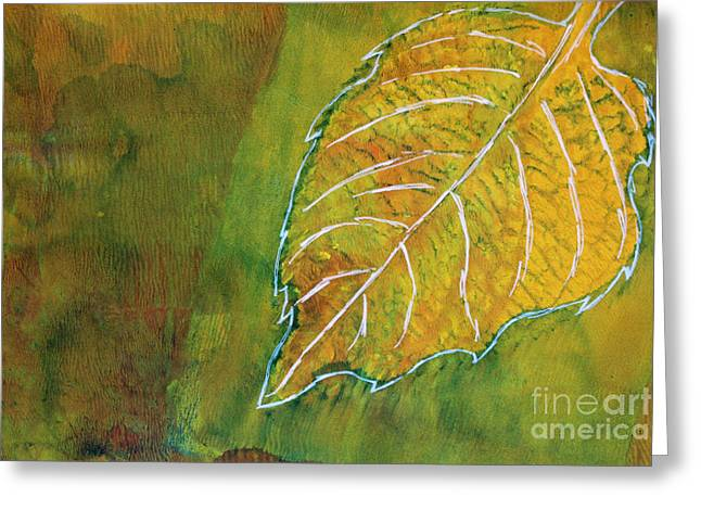 Sustainable Gardening Greeting Cards - Hydrangea Leaf Print 6 Greeting Card by Lauri Jean Crowe