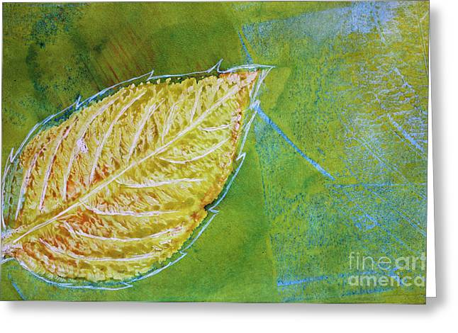Sustainable Gardening Greeting Cards - Hydrangea Leaf Print 7 Greeting Card by Lauri Jean Crowe